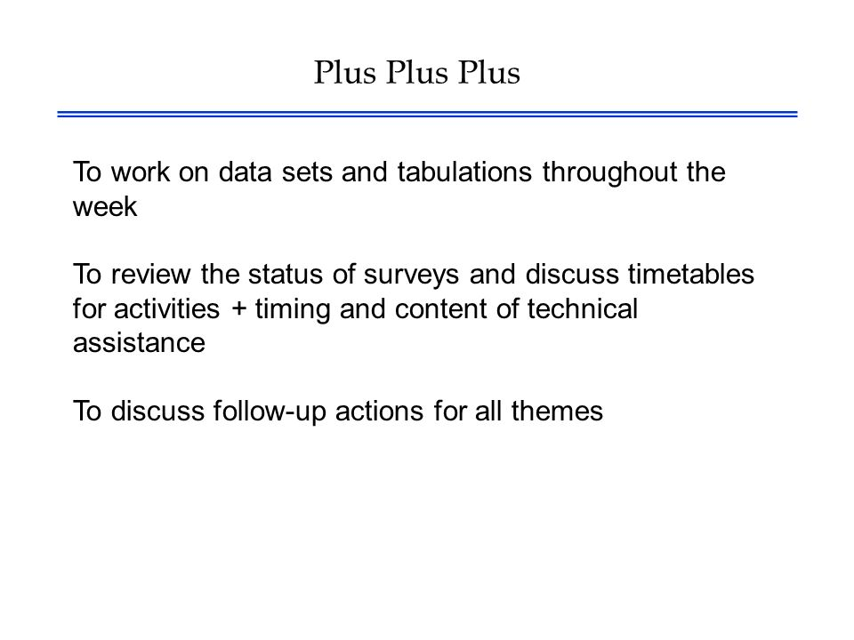 Plus Plus Plus To work on data sets and tabulations throughout the week To review the status of surveys and discuss timetables for activities + timing and content of technical assistance To discuss follow-up actions for all themes
