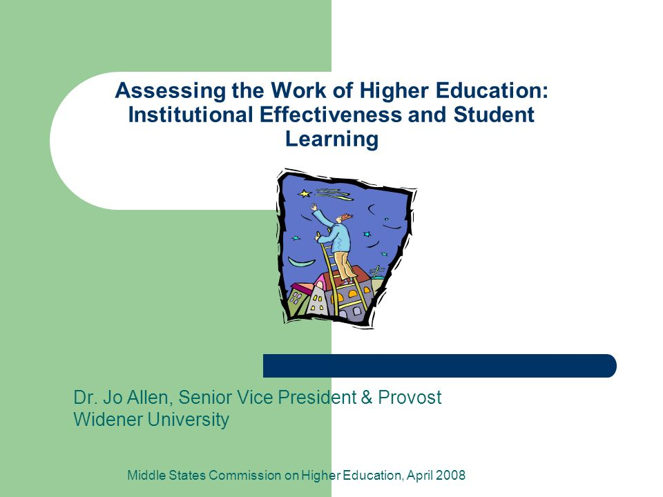 Assessing the Work of Higher Education: Institutional Effectiveness and Student Learning Dr.