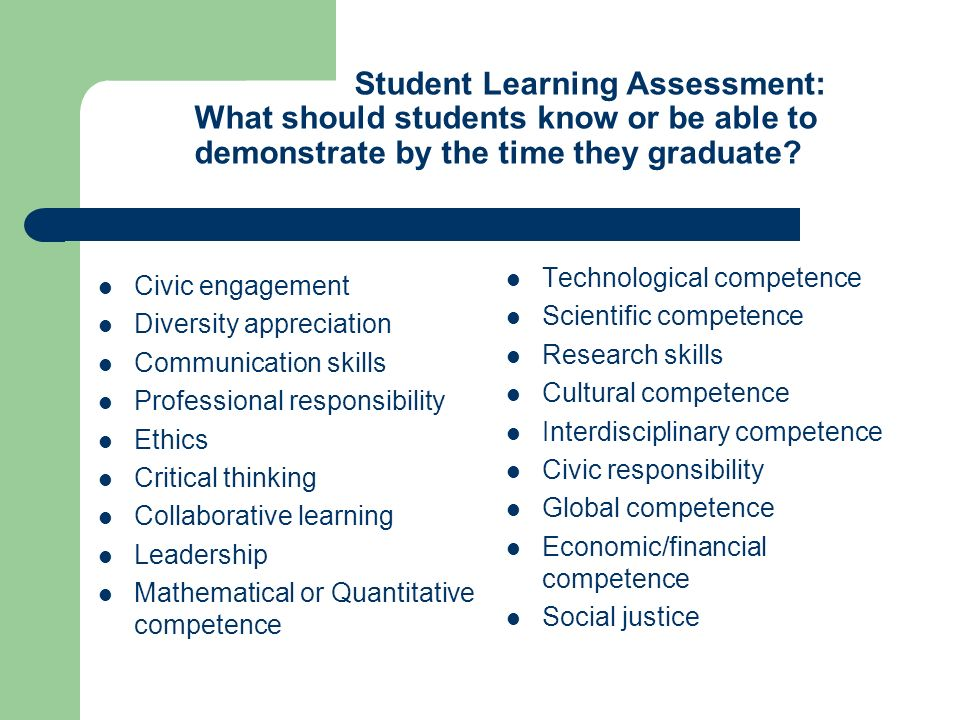 Student Learning Assessment: What should students know or be able to demonstrate by the time they graduate.