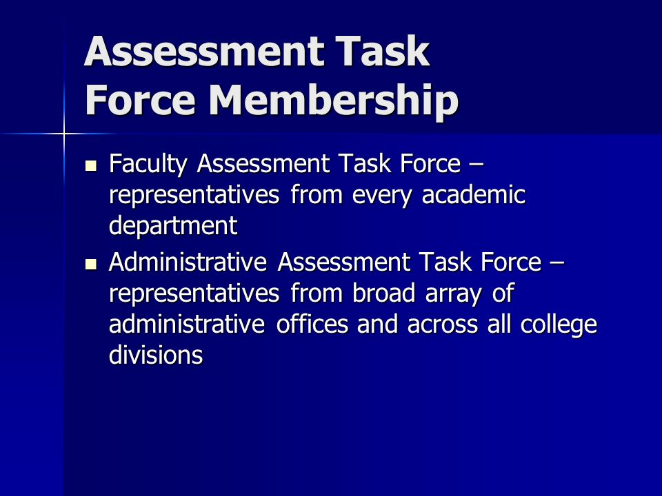 Assessment Task Force Membership Faculty Assessment Task Force – representatives from every academic department Faculty Assessment Task Force – representatives from every academic department Administrative Assessment Task Force – representatives from broad array of administrative offices and across all college divisions Administrative Assessment Task Force – representatives from broad array of administrative offices and across all college divisions