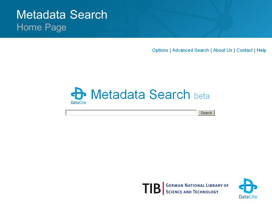 Metadata Search Home Page