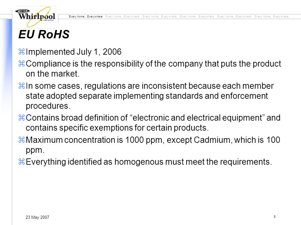 Every home…Everywhere Every home…Everywhere Every home…Everywhere 23 May 2007 8 EU RoHS zImplemented July 1, 2006 zCompliance is the responsibility of the company that puts the product on the market.
