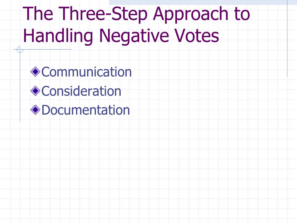 The Three-Step Approach to Handling Negative Votes Communication Consideration Documentation