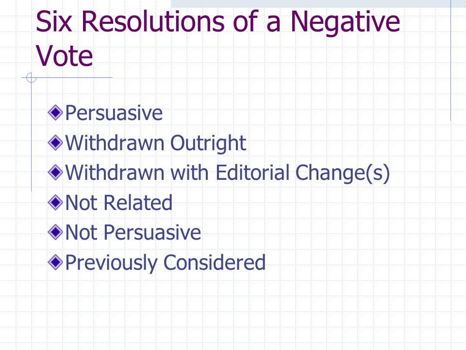 Six Resolutions of a Negative Vote Persuasive Withdrawn Outright Withdrawn with Editorial Change(s) Not Related Not Persuasive Previously Considered