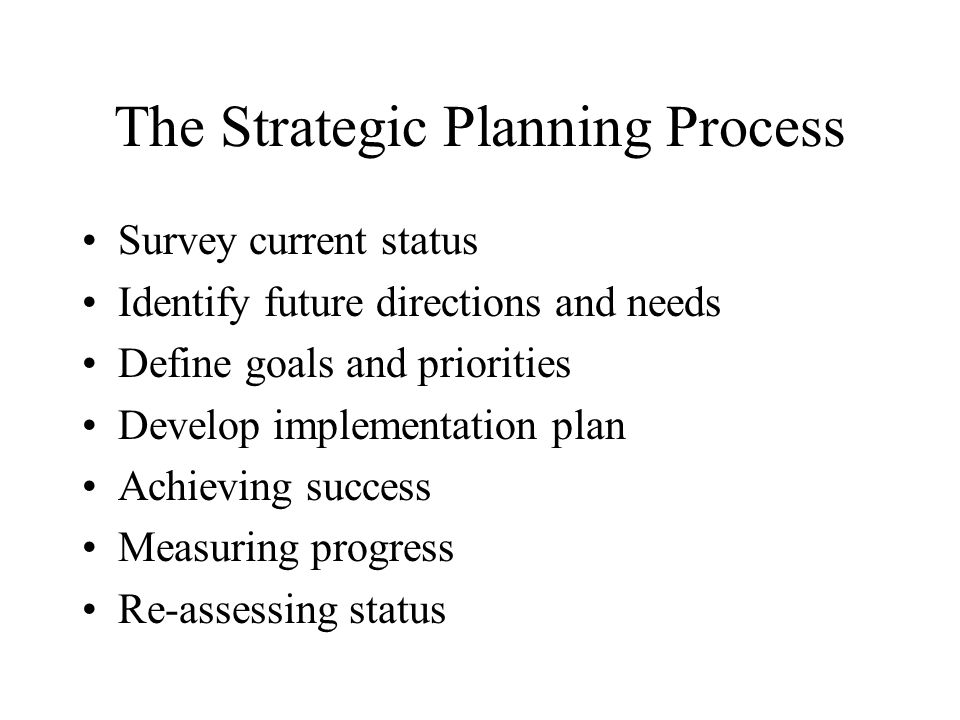 The Strategic Planning Process Survey current status Identify future directions and needs Define goals and priorities Develop implementation plan Achieving success Measuring progress Re-assessing status