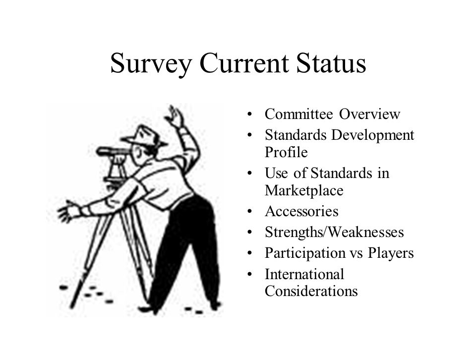 Survey Current Status Committee Overview Standards Development Profile Use of Standards in Marketplace Accessories Strengths/Weaknesses Participation vs Players International Considerations