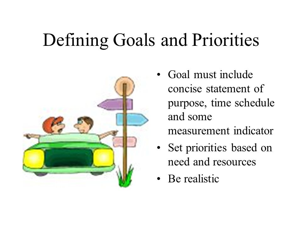 Defining Goals and Priorities Goal must include concise statement of purpose, time schedule and some measurement indicator Set priorities based on need and resources Be realistic