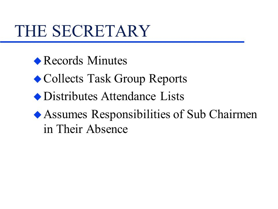 THE SECRETARY u Records Minutes u Collects Task Group Reports u Distributes Attendance Lists u Assumes Responsibilities of Sub Chairmen in Their Absence