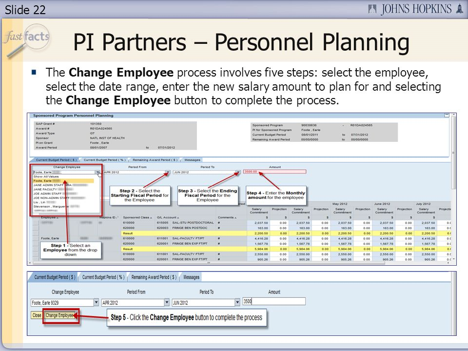Slide 22 PI Partners – Personnel Planning The Change Employee process involves five steps: select the employee, select the date range, enter the new salary amount to plan for and selecting the Change Employee button to complete the process.