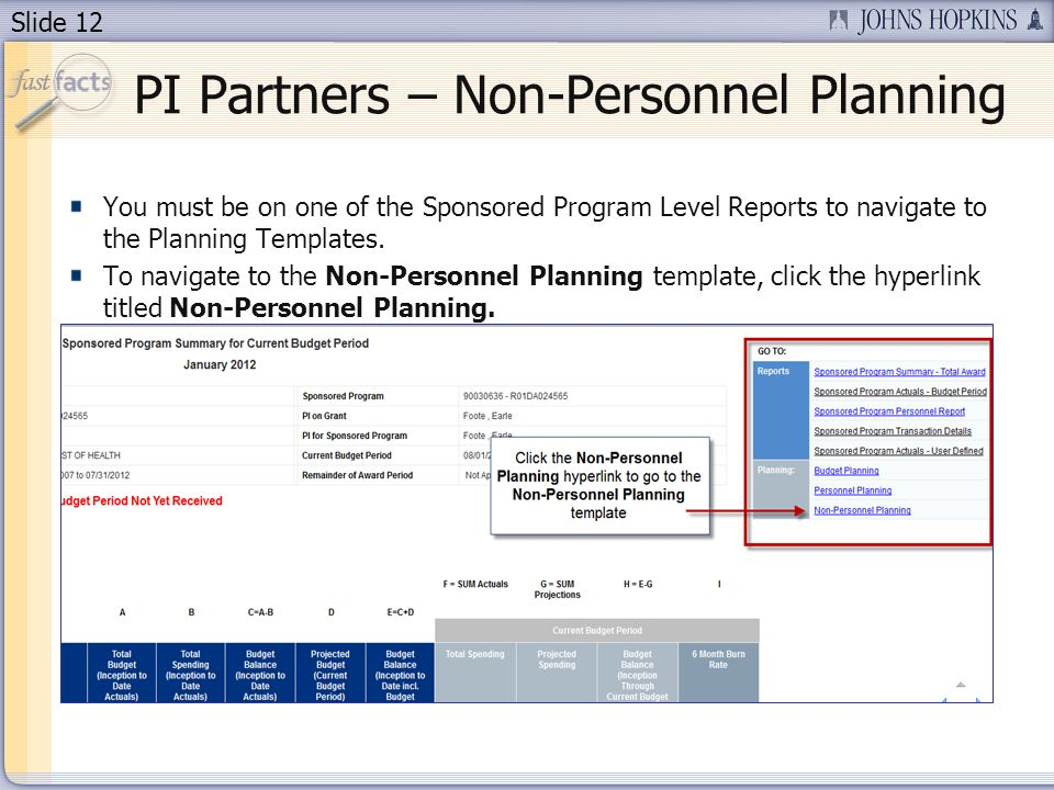 Slide 12 You must be on one of the Sponsored Program Level Reports to navigate to the Planning Templates.