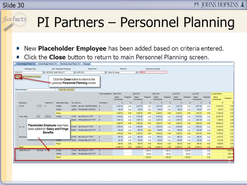 Slide 30 New Placeholder Employee has been added based on criteria entered.
