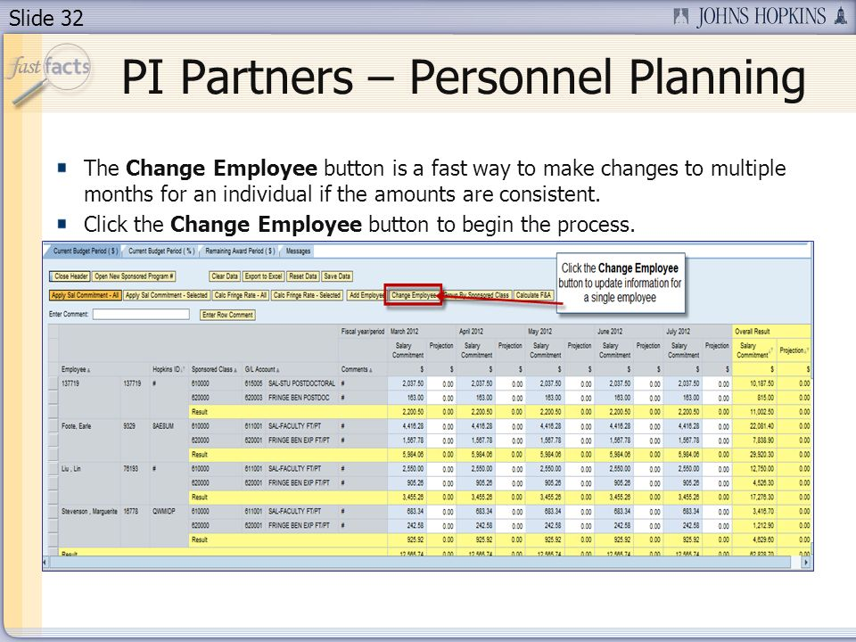 Slide 32 The Change Employee button is a fast way to make changes to multiple months for an individual if the amounts are consistent.