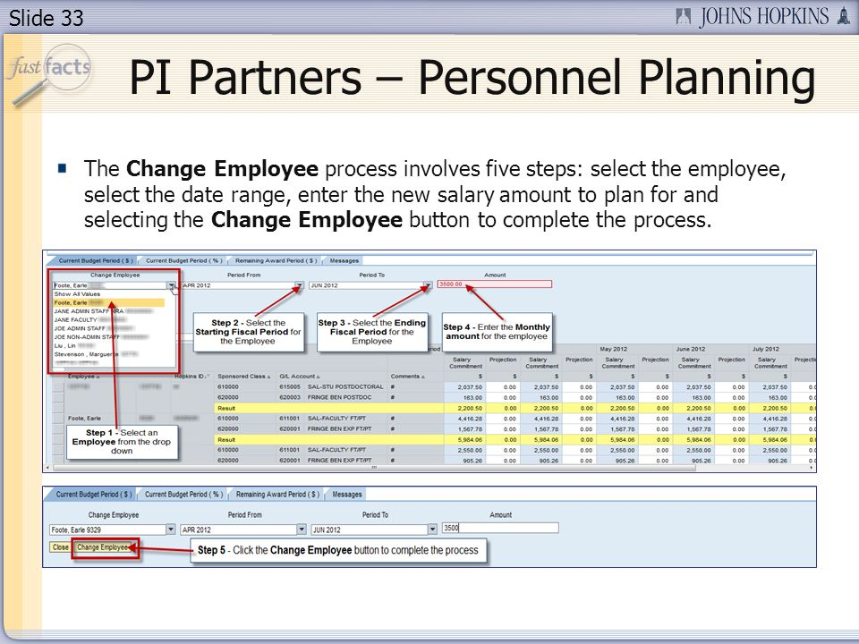 Slide 33 The Change Employee process involves five steps: select the employee, select the date range, enter the new salary amount to plan for and selecting the Change Employee button to complete the process.