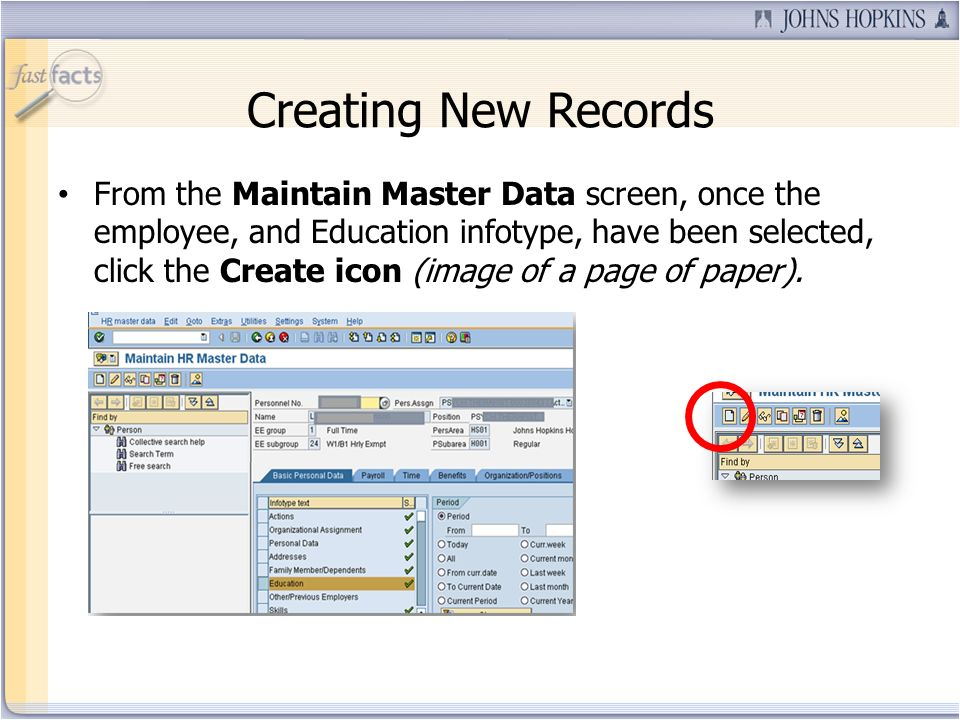 Creating New Records From the Maintain Master Data screen, once the employee, and Education infotype, have been selected, click the Create icon (image of a page of paper).