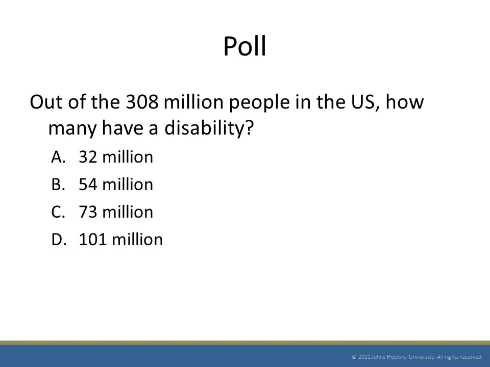 Poll Out of the 308 million people in the US, how many have a disability.