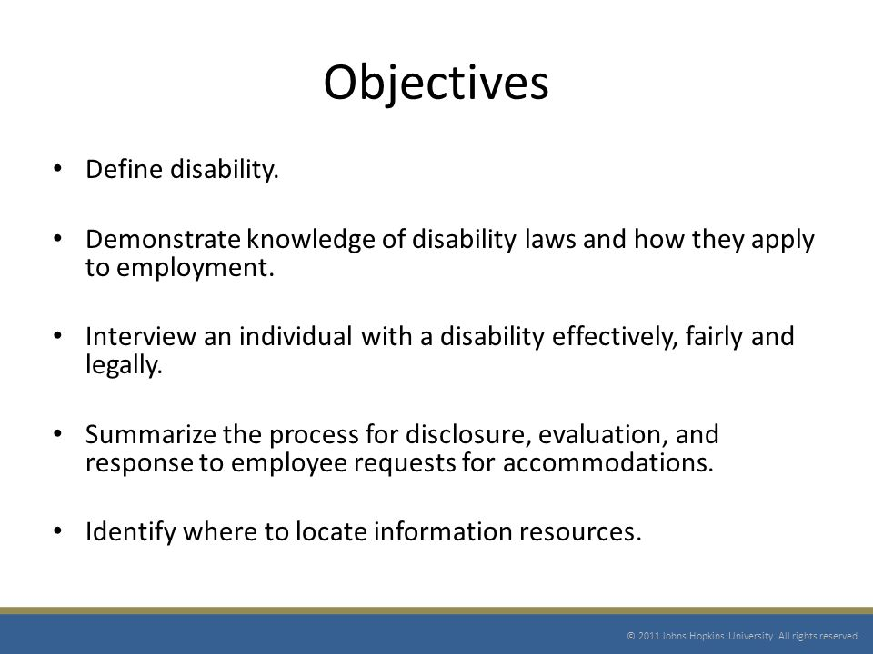Objectives Define disability.