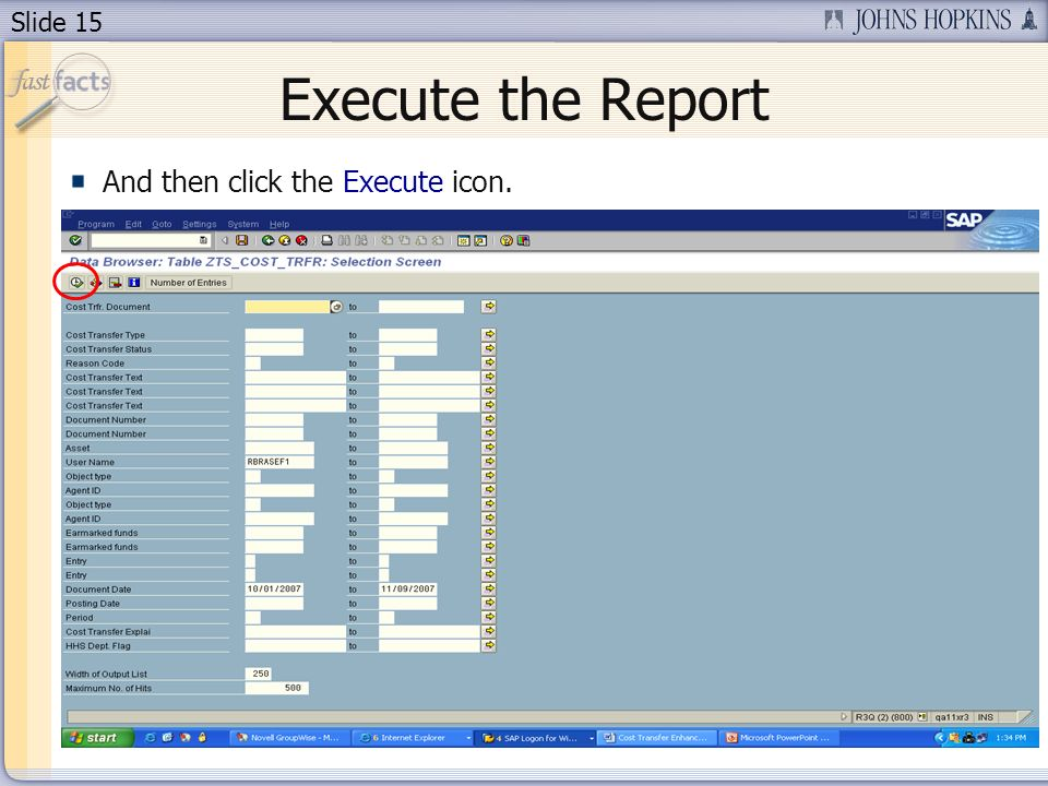 Slide 15 Execute the Report And then click the Execute icon.
