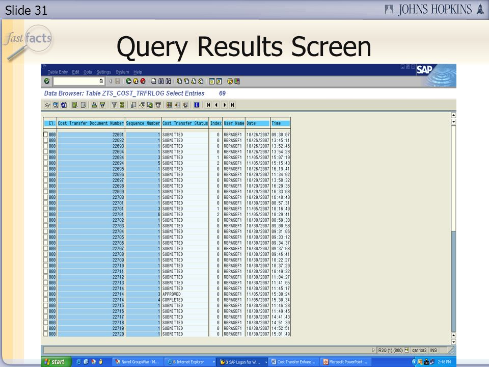 Slide 31 Query Results Screen