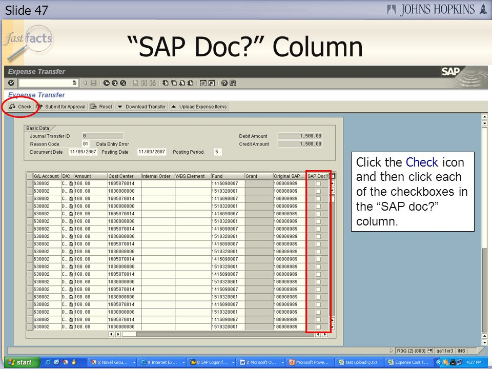 Slide 47 Click the Check icon and then click each of the checkboxes in the SAP doc.