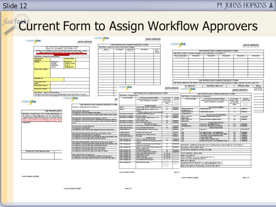 Slide 12 Current Form to Assign Workflow Approvers
