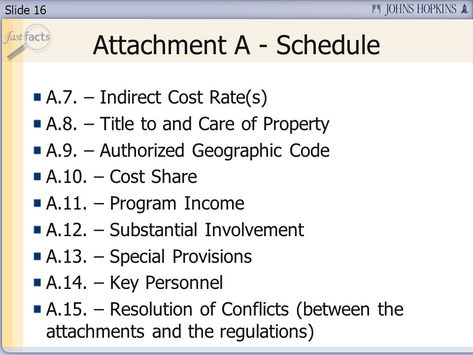 Slide 16 Attachment A - Schedule A.7. – Indirect Cost Rate(s) A.8.