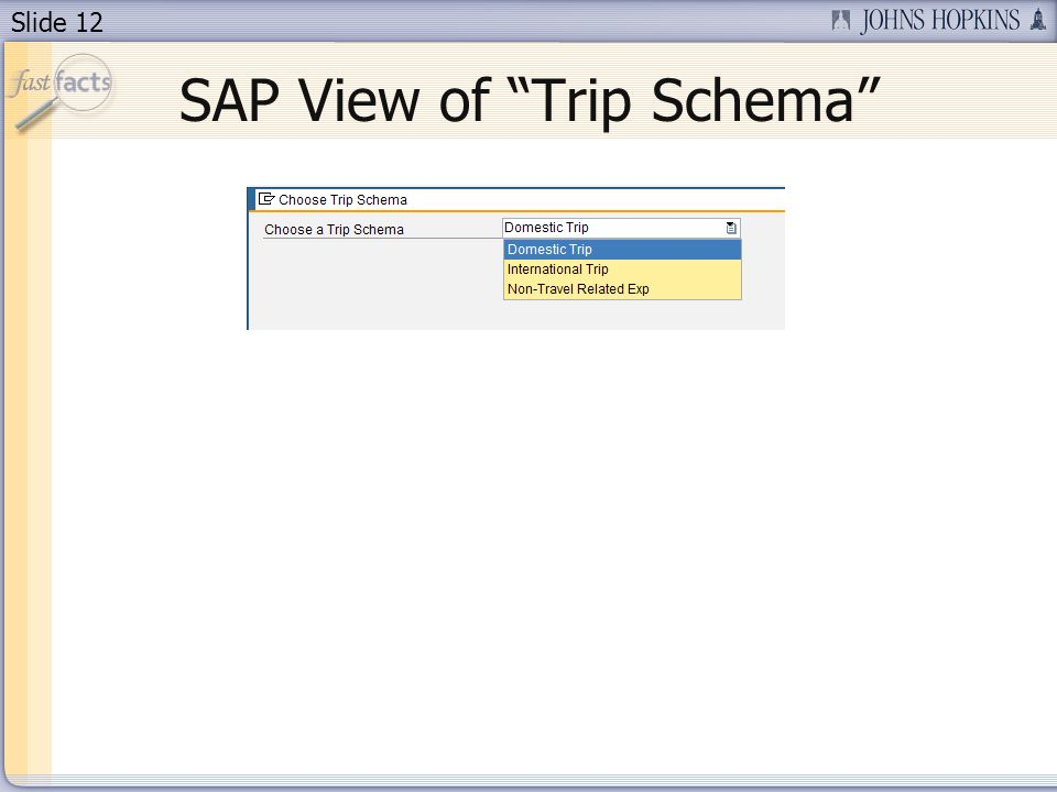 Slide 12 SAP View of Trip Schema