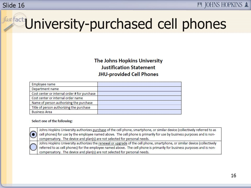 Slide 16 University-purchased cell phones 16