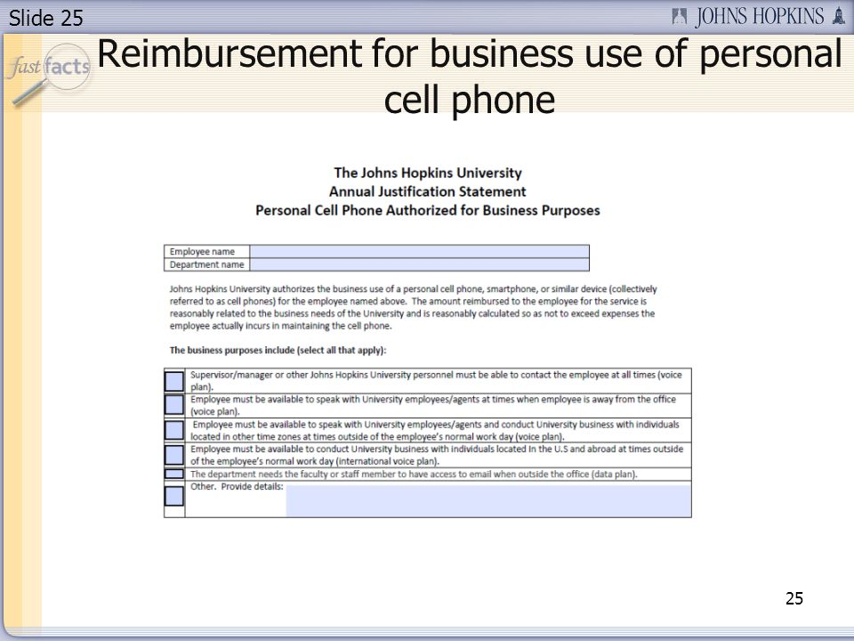 Slide 25 Reimbursement for business use of personal cell phone 25