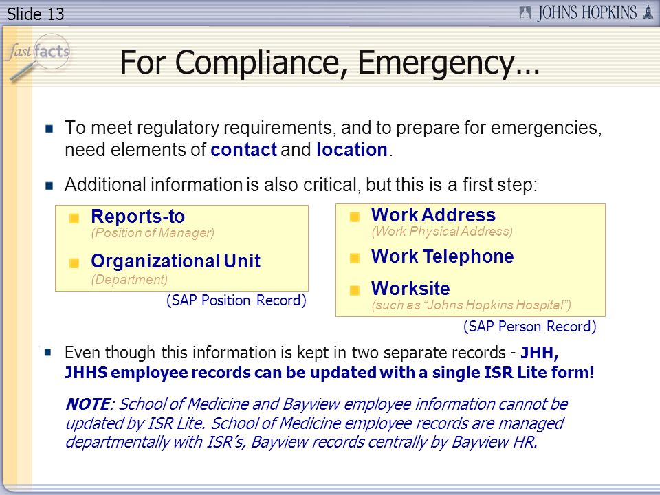 Slide 13 To meet regulatory requirements, and to prepare for emergencies, need elements of contact and location.