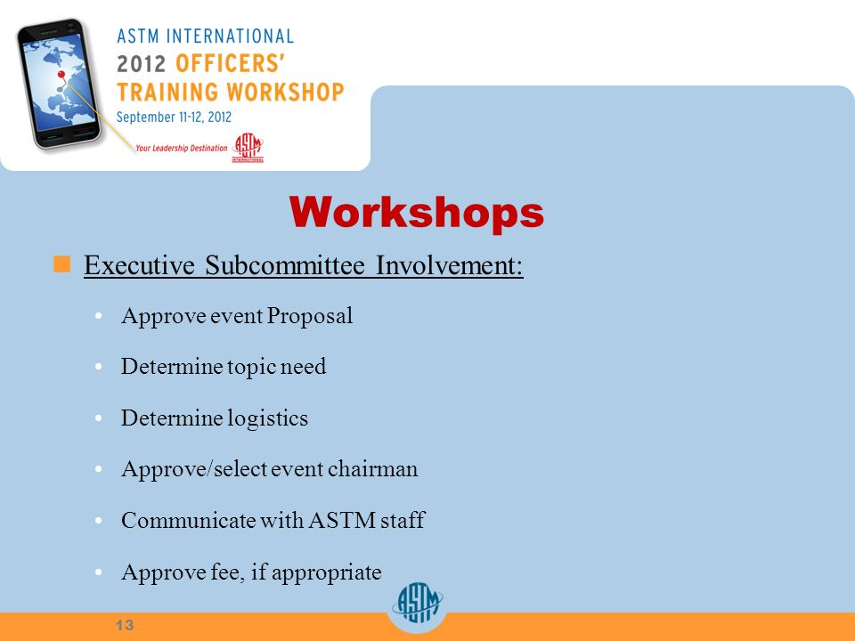 Workshops Executive Subcommittee Involvement: Approve event Proposal Determine topic need Determine logistics Approve/select event chairman Communicate with ASTM staff Approve fee, if appropriate 13
