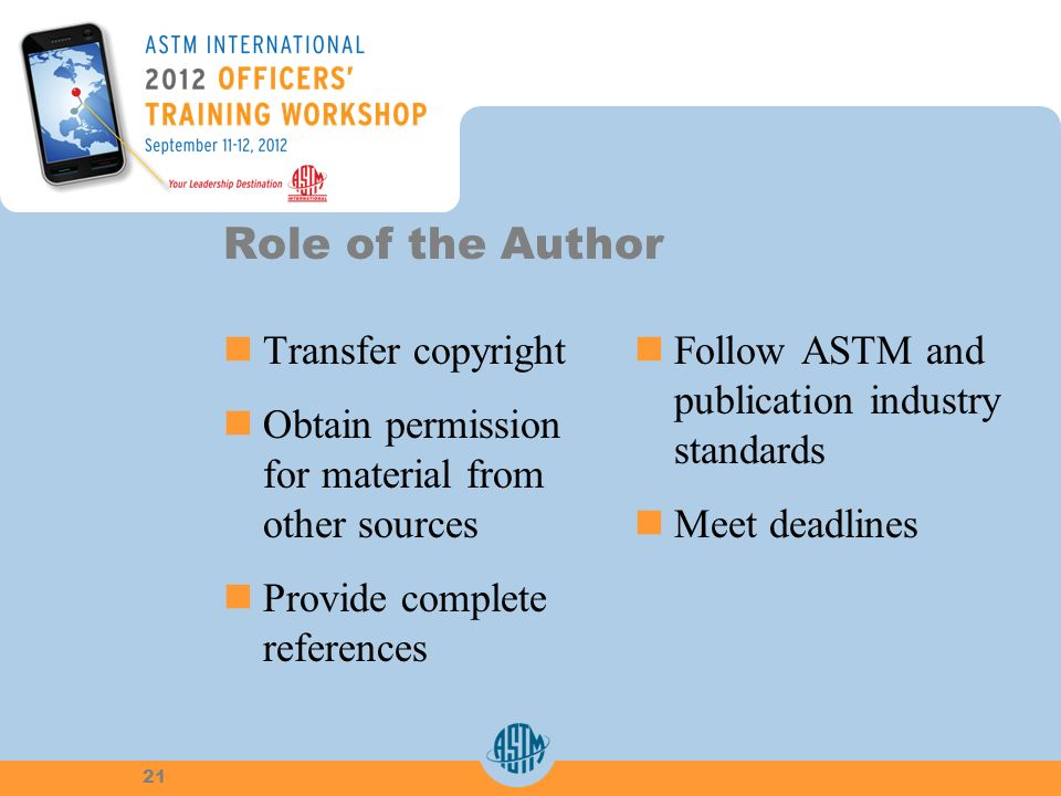 Role of the Author Transfer copyright Obtain permission for material from other sources Provide complete references Follow ASTM and publication industry standards Meet deadlines 21