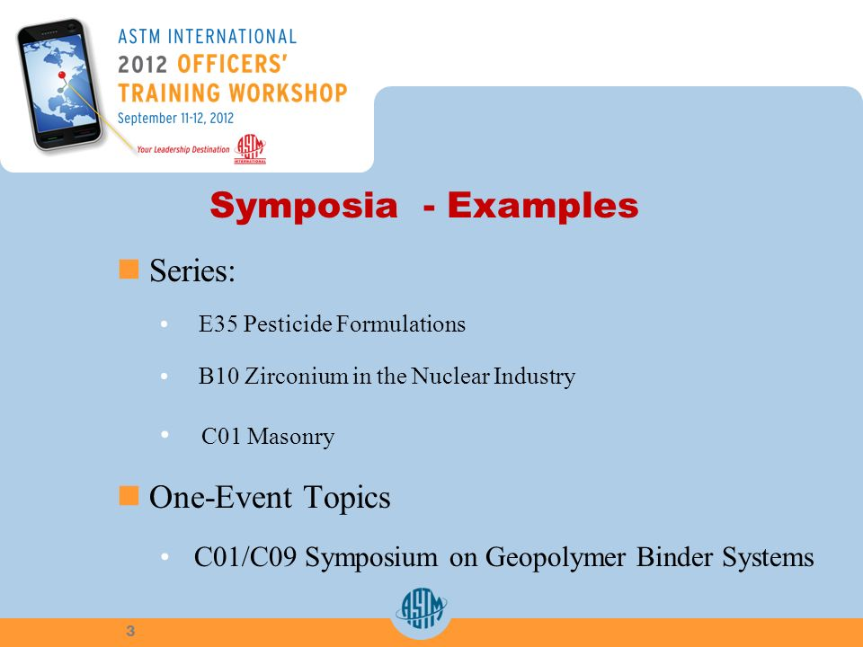 Symposia - Examples Series: E35 Pesticide Formulations B10 Zirconium in the Nuclear Industry C01 Masonry One-Event Topics C01/C09 Symposium on Geopolymer Binder Systems 3