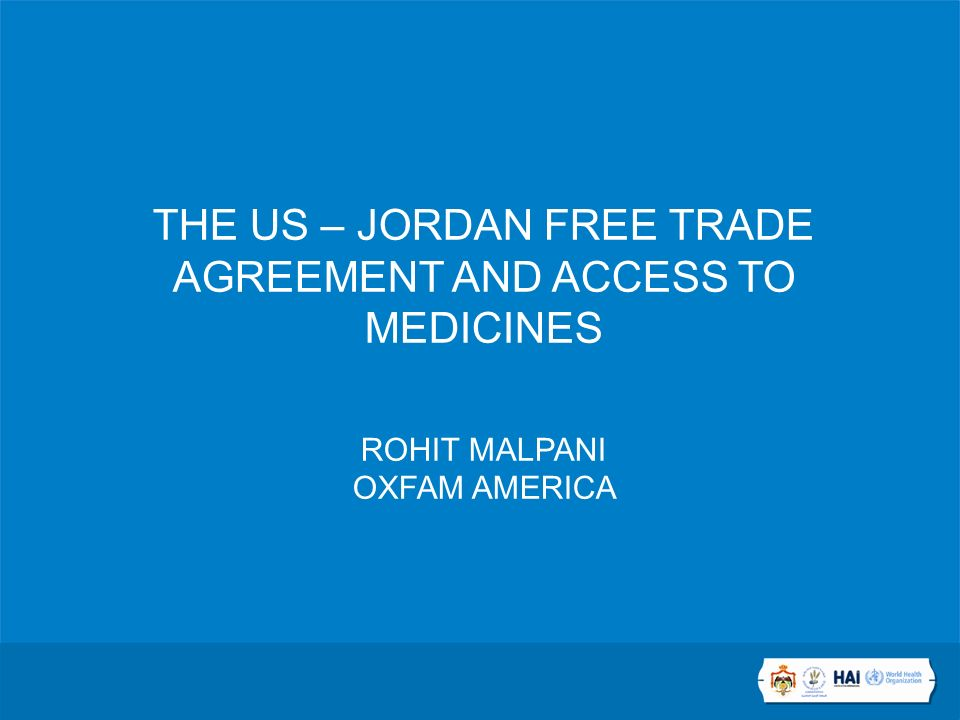 The Us Jordan Free Trade Agreement And Access To Medicines Rohit