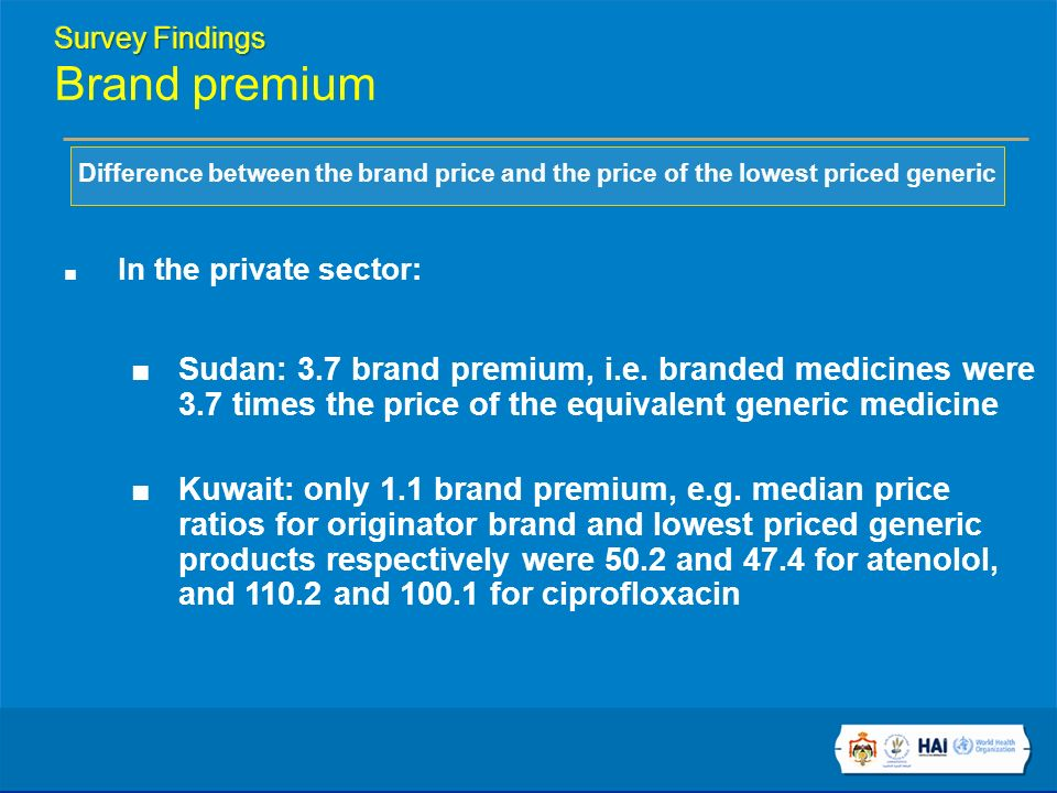 Difference between the brand price and the price of the lowest priced generic In the private sector: Sudan: 3.7 brand premium, i.e.