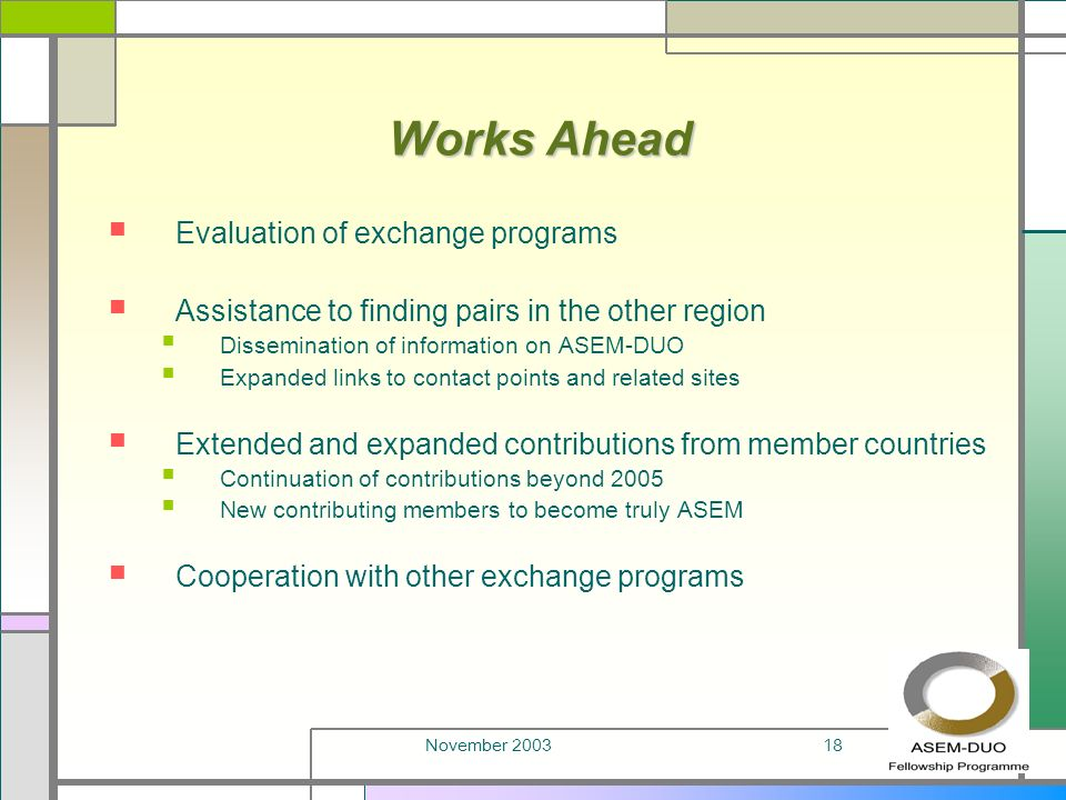 November 200318 Works Ahead Evaluation of exchange programs Assistance to finding pairs in the other region Dissemination of information on ASEM-DUO Expanded links to contact points and related sites Extended and expanded contributions from member countries Continuation of contributions beyond 2005 New contributing members to become truly ASEM Cooperation with other exchange programs