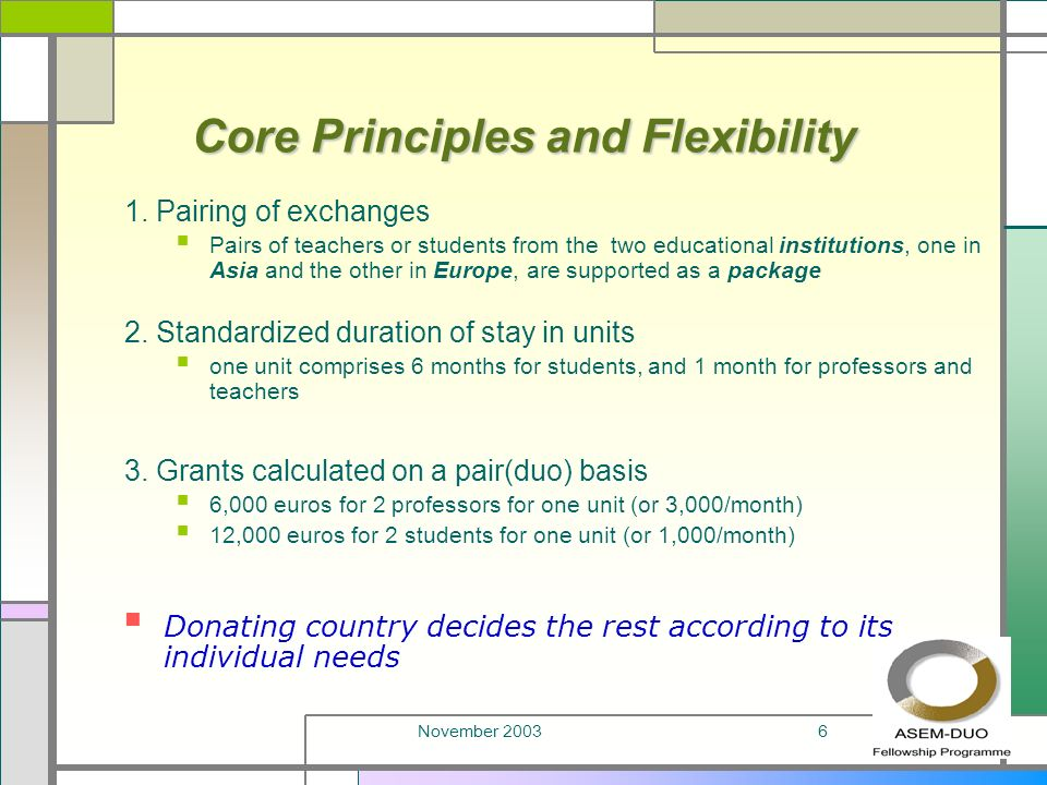 November 20036 Core Principles and Flexibility 1.