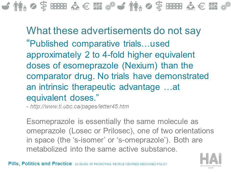 Pills, Politics and Practice 25 YEARS OF PROMOTING PEOPLE-CENTRED MEDICINES POLICY What these advertisements do not say Published comparative trials…used approximately 2 to 4-fold higher equivalent doses of esomeprazole (Nexium) than the comparator drug.