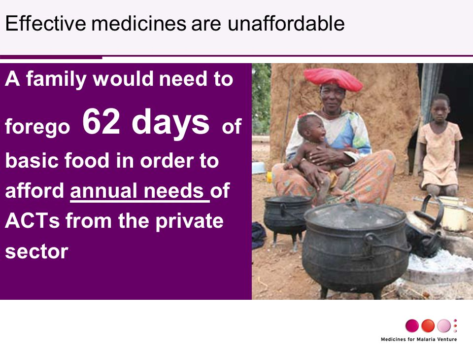 A family would need to forego 62 days of basic food in order to afford annual needs of ACTs from the private sector Effective medicines are unaffordable