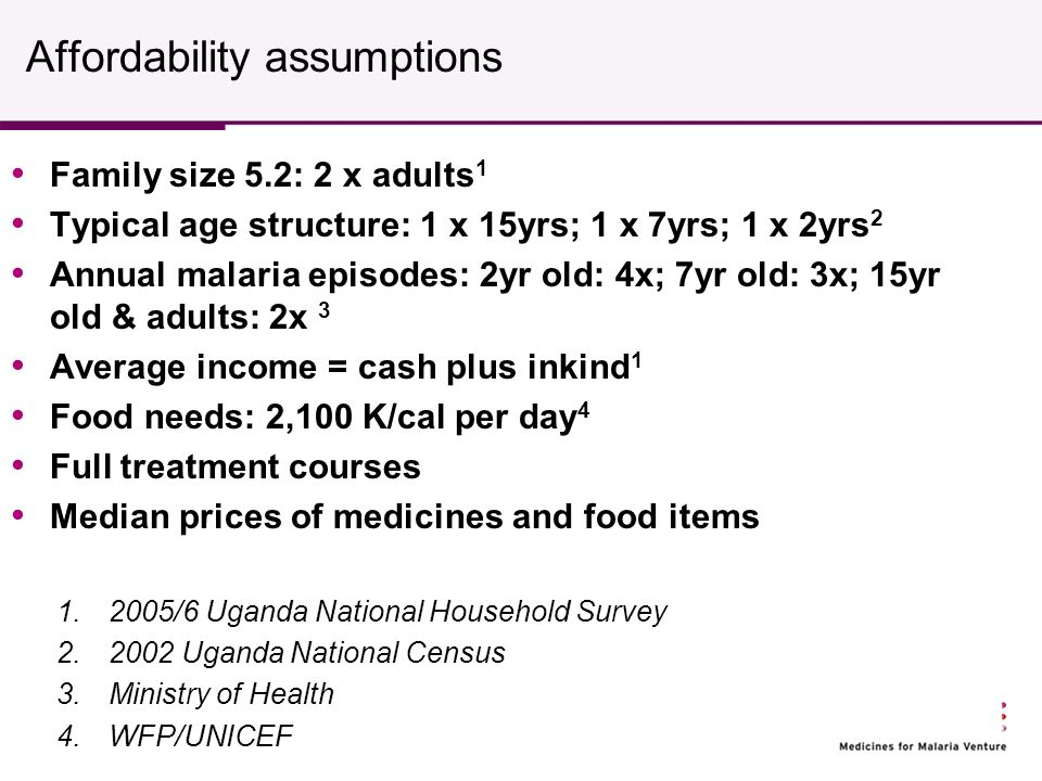 Affordability assumptions Family size 5.2: 2 x adults 1 Typical age structure: 1 x 15yrs; 1 x 7yrs; 1 x 2yrs 2 Annual malaria episodes: 2yr old: 4x; 7yr old: 3x; 15yr old & adults: 2x 3 Average income = cash plus inkind 1 Food needs: 2,100 K/cal per day 4 Full treatment courses Median prices of medicines and food items 1.2005/6 Uganda National Household Survey 2.2002 Uganda National Census 3.Ministry of Health 4.WFP/UNICEF