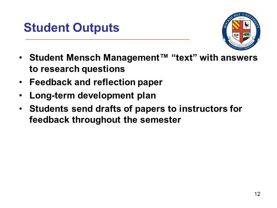 12 Student Outputs Student Mensch Management text with answers to research questions Feedback and reflection paper Long-term development plan Students send drafts of papers to instructors for feedback throughout the semester