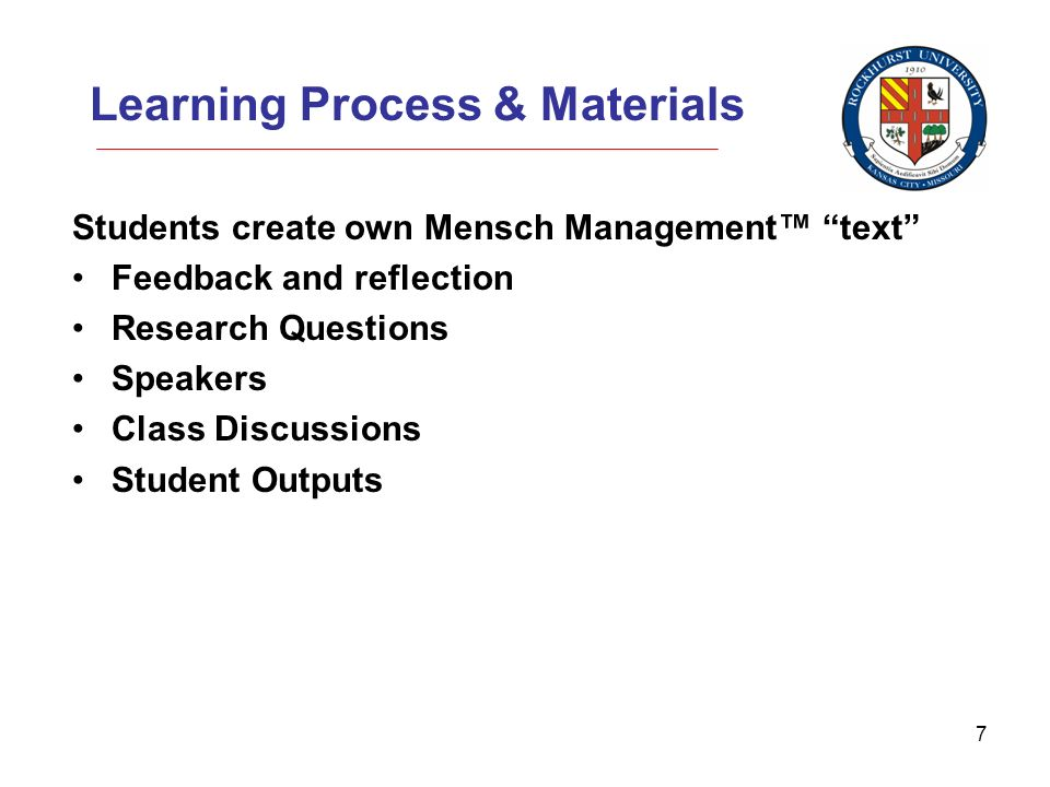 7 Learning Process & Materials Students create own Mensch Management text Feedback and reflection Research Questions Speakers Class Discussions Student Outputs