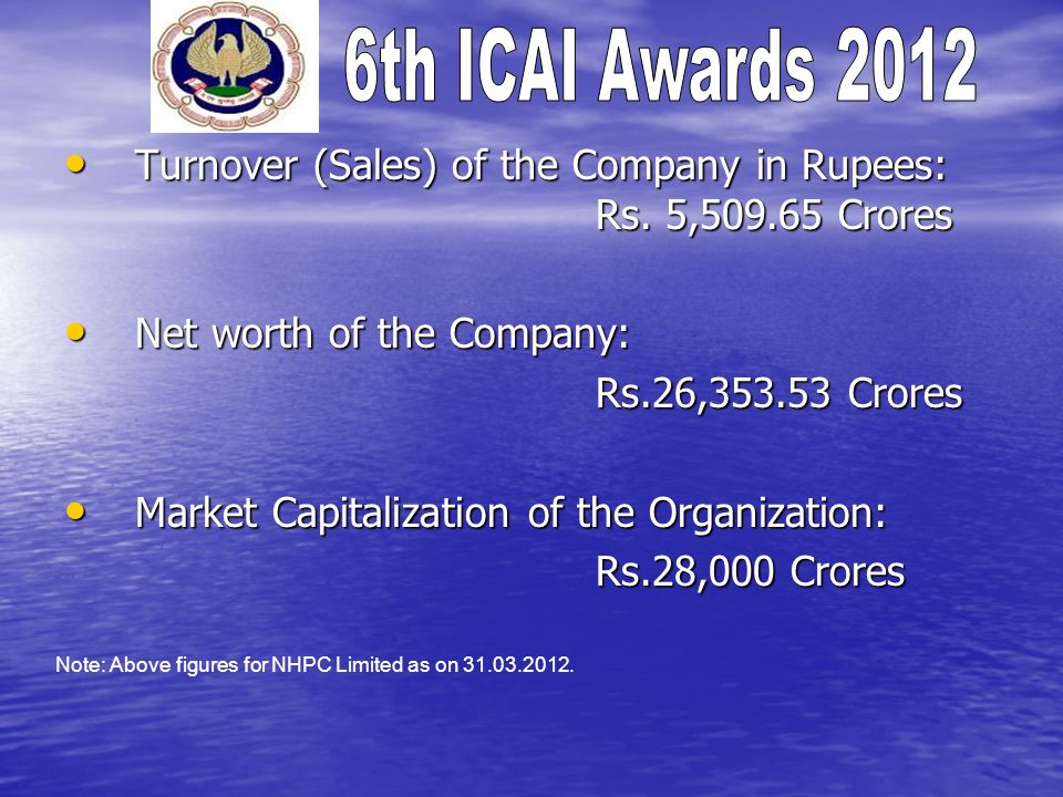 Turnover (Sales) of the Company in Rupees: Rs.