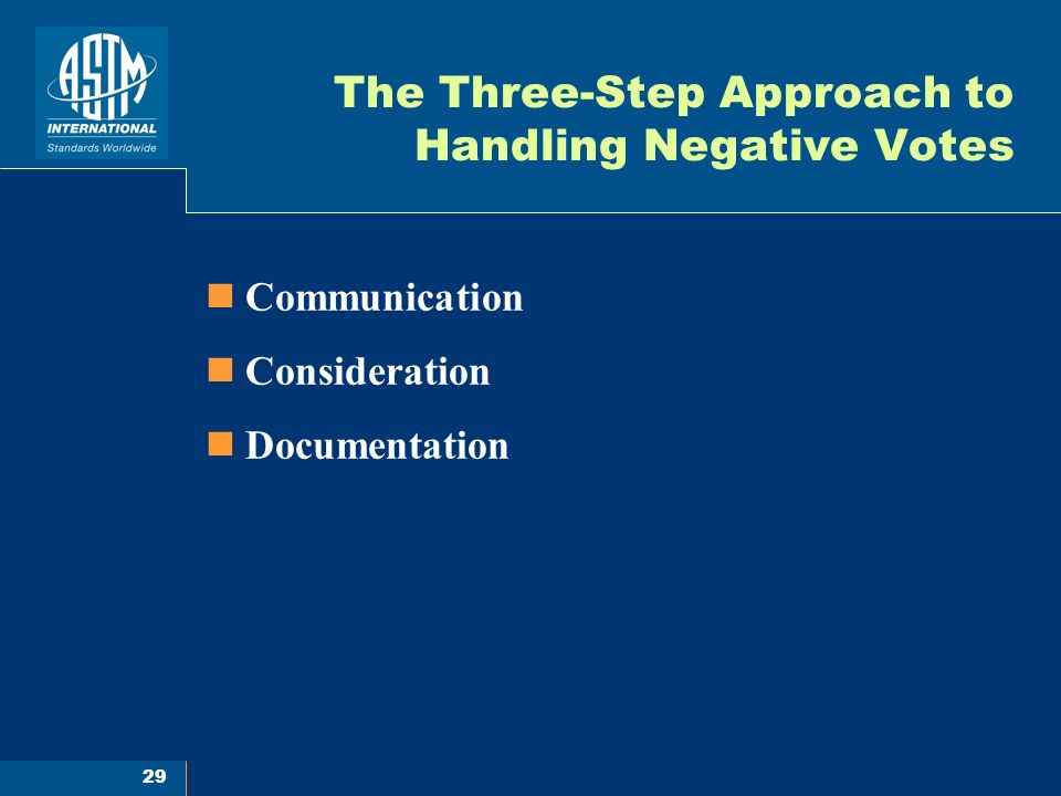 29 The Three-Step Approach to Handling Negative Votes Communication Consideration Documentation