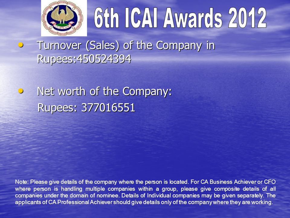 Turnover (Sales) of the Company in Rupees:450524394 Turnover (Sales) of the Company in Rupees:450524394 Net worth of the Company: Net worth of the Company: Rupees: 377016551 Rupees: 377016551 Note: Please give details of the company where the person is located.