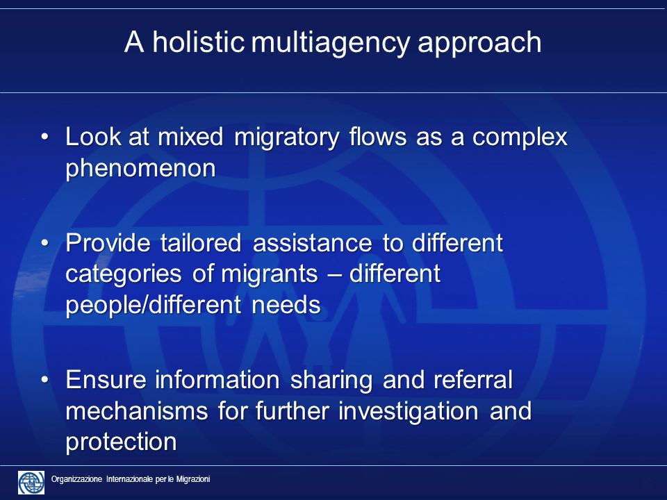 5 Organizzazione Internazionale per le Migrazioni A holistic multiagency approach Look at mixed migratory flows as a complex phenomenonLook at mixed migratory flows as a complex phenomenon Provide tailored assistance to different categories of migrants – different people/different needsProvide tailored assistance to different categories of migrants – different people/different needs Ensure information sharing and referral mechanisms for further investigation and protectionEnsure information sharing and referral mechanisms for further investigation and protection