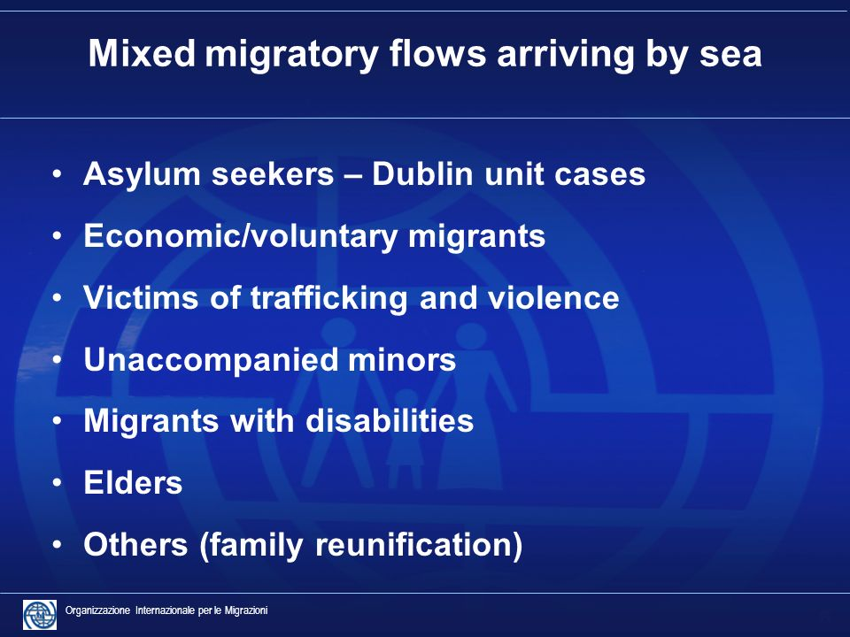 6 Organizzazione Internazionale per le Migrazioni Mixed migratory flows arriving by sea Asylum seekers – Dublin unit cases Economic/voluntary migrants Victims of trafficking and violence Unaccompanied minors Migrants with disabilities Elders Others (family reunification)