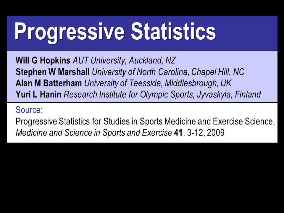 Progressive Statistics Will G Hopkins AUT University, Auckland, NZ Stephen W Marshall University of North Carolina, Chapel Hill, NC Alan M Batterham University of Teesside, Middlesbrough, UK Yuri L Hanin Research Institute for Olympic Sports, Jyvaskyla, Finland Source: Progressive Statistics for Studies in Sports Medicine and Exercise Science, Medicine and Science in Sports and Exercise 41, 3-12, 2009
