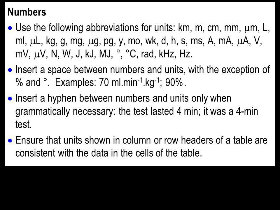 Numbers Use the following abbreviations for units: km, m, cm, mm, m, L, ml, L, kg, g, mg, g, pg, y, mo, wk, d, h, s, ms, A, mA, A, V, mV, V, N, W, J, kJ, MJ, °, °C, rad, kHz, Hz.