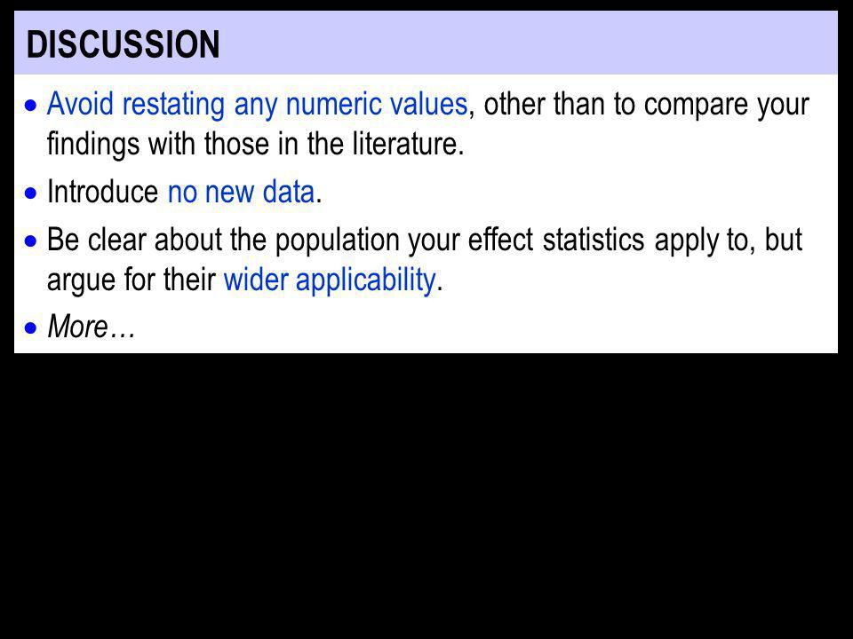 DISCUSSION Avoid restating any numeric values, other than to compare your findings with those in the literature.