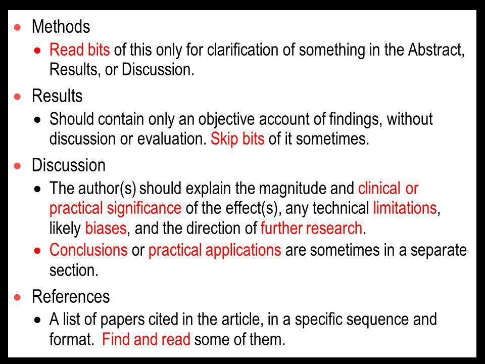 Methods Read bits of this only for clarification of something in the Abstract, Results, or Discussion.